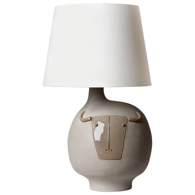 "Large Grey Ceramic Lamp ""Toro"" Signed by French Ceramist Dalo"
