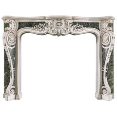 George II Rococo Chimneypiece in White Statuary and Verde Antico Marble