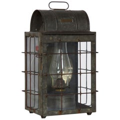 Early 20th Century National Marine Lamp Co. Bulkhead Lantern Oil Lamp