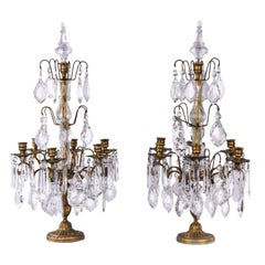 Pair of 20th century French Brass Candelabra Girandoles with Crystal Pendants