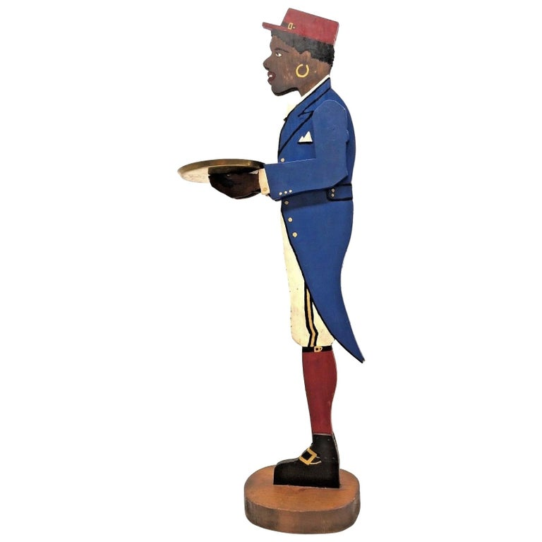 1930s Folk Art Silent Butler Wooden Sculpture, Black Americana
