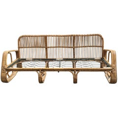 Mid-Century Modern Italian Three-Seat Bamboo Sofa from 1960s