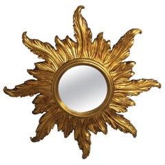 Glimmering Italian Round Giltwood Sunburst Mirror