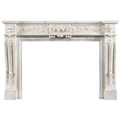 Louis XVI Style Antique Chimneypiece in Carrara Marble