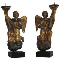 Small Pair of 19th Century French Baroque Style Angels with Candleholders