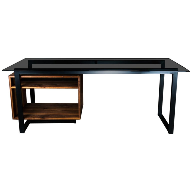Hamilton Modern Desk, by Ambrozia, Tinted Glass, Black Steel, Solid Black Walnut For Sale