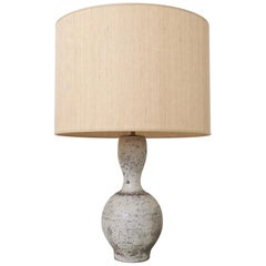 Ceramic Table Lamp, France, White/Grey Ceramic and Straw Paper Shad