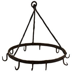 Rustic Triangle Form 19th Century Wrought Iron Hanging Butchers Rack, Pot Rack