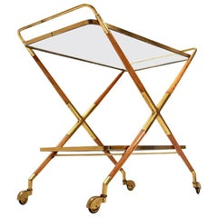 Italian Brass and Glass Cart, 1950s