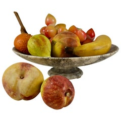 1930s Italian Marble Tazza and Carved Alabaster Fruit, a Nine-Piece Set