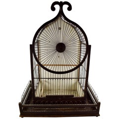 1800s American Victorian Gothic Revival Folk Art Wood & Metal Bird's Cage