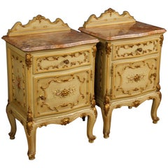 Pair of Venetian Bedside Tables in Lacquered, Gilt, Painted Wood 20th Century