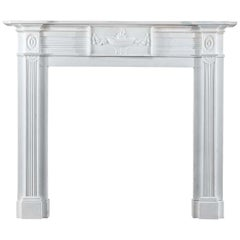 Regency Antique Fireplace in White Statuary Marble