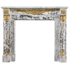 Louis XVI Fireplace in Breche Violette Marble