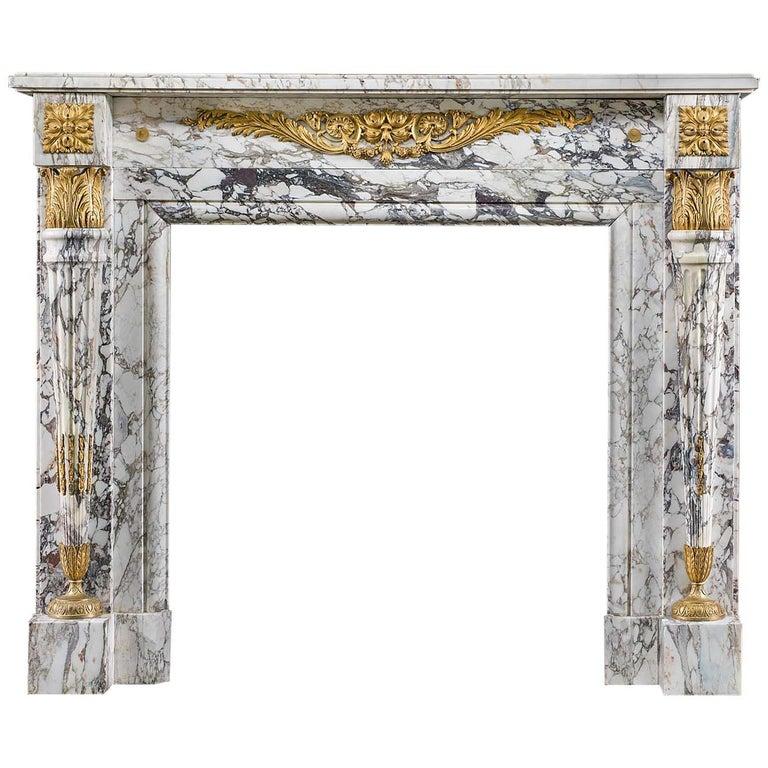 Louis XVI Fireplace in Breche Violette Marble