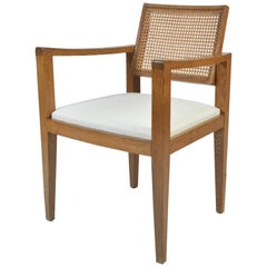 1950s Oak and Cane Armchair by Emile Seigneur