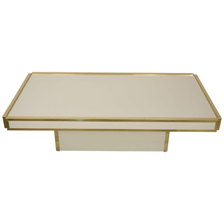Midcentury Italian Design Brass and Ivory Lacquer Coffee Table