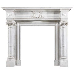 Twin Columned Carrara Marble Antique Chimneypiece