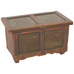 Small Antique Wood Trunk, circa 1880