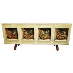Italian Modern Parchment, Palisander and Trompe L'oeil Credenza, Aldo Tura