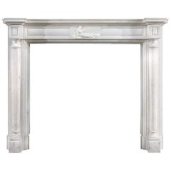 White Statuary Marble Columned Regency Antique Chimneypiece