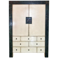 American Modern Parchment/ Leather/ Bronze Dry Bar Cabinet, Maitland Smith