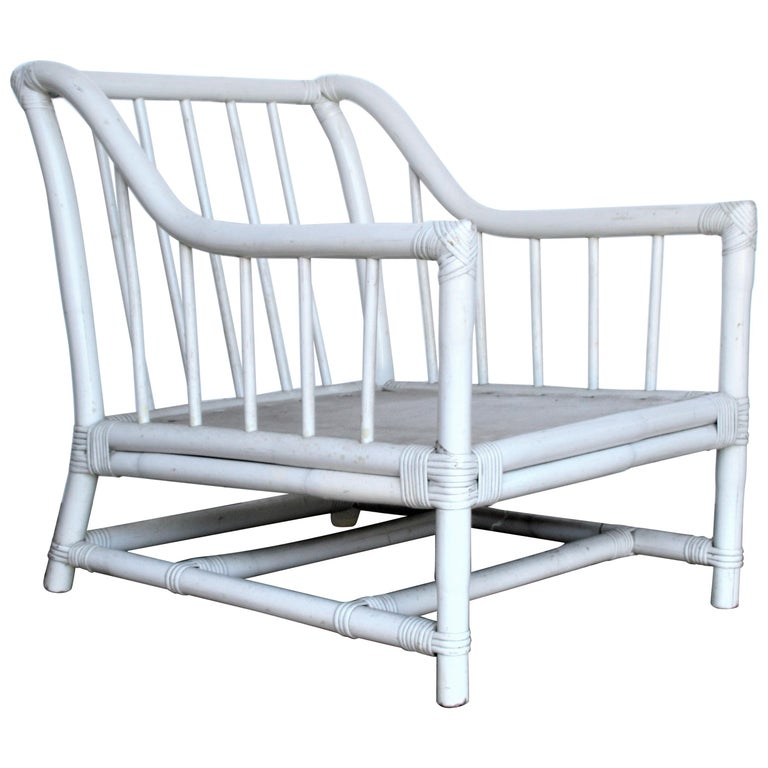 White Lacquered Bamboo Lounge Chair by Tommi Parzinger Willow and Reed