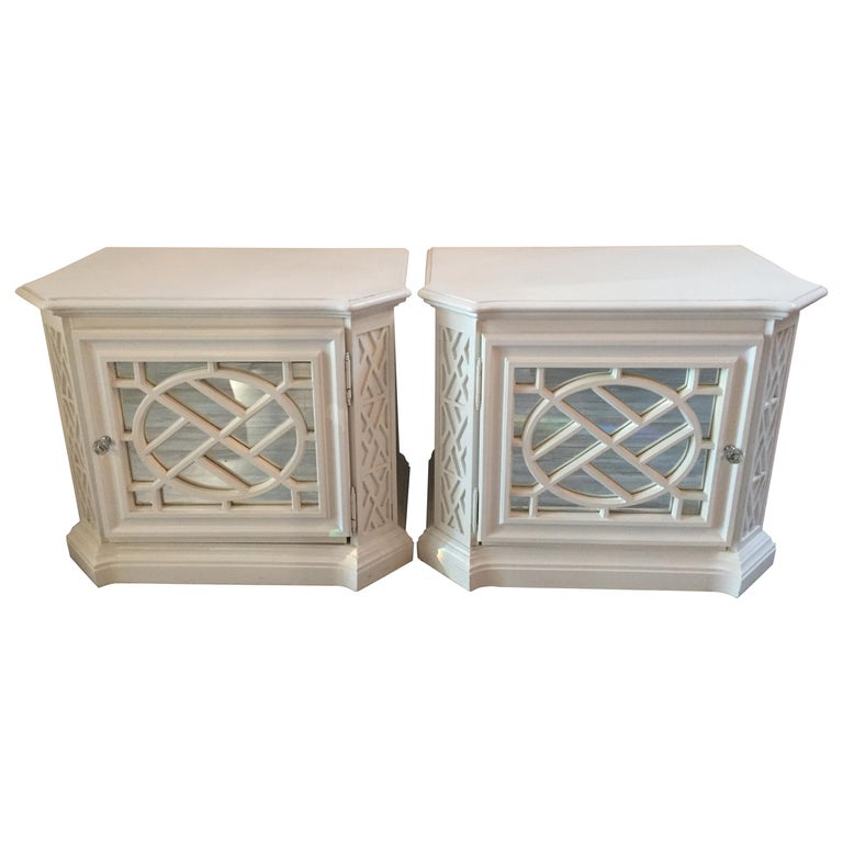 Pair of White Painted and Mirrored Glamorous Hollywood Regency Nightstands