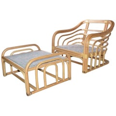 Mid-Century Modern Bamboo Porch Lounging Armchair and Ottoman