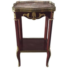 Scalloped Mahogany and Marble Fancy French Side Table