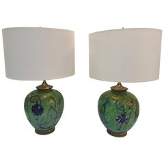 Pair of Rich Iridized Green Pallme-Koenig Table Lamps