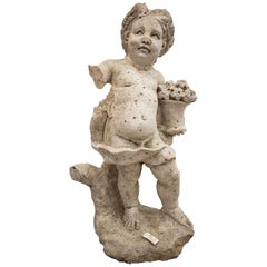17th Century French Stone Sculpture, Child with Flowers, circa 1680