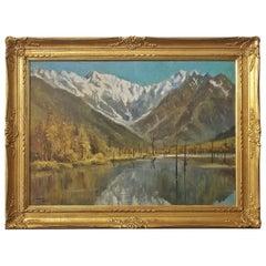 Hiyashi NoBuo Large Oil on Canvas, Lake & Snow Mountains