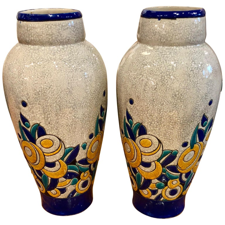 Charles Catteau Boch Ceramic Large Matching Pair of Floral Art Deco For Sale