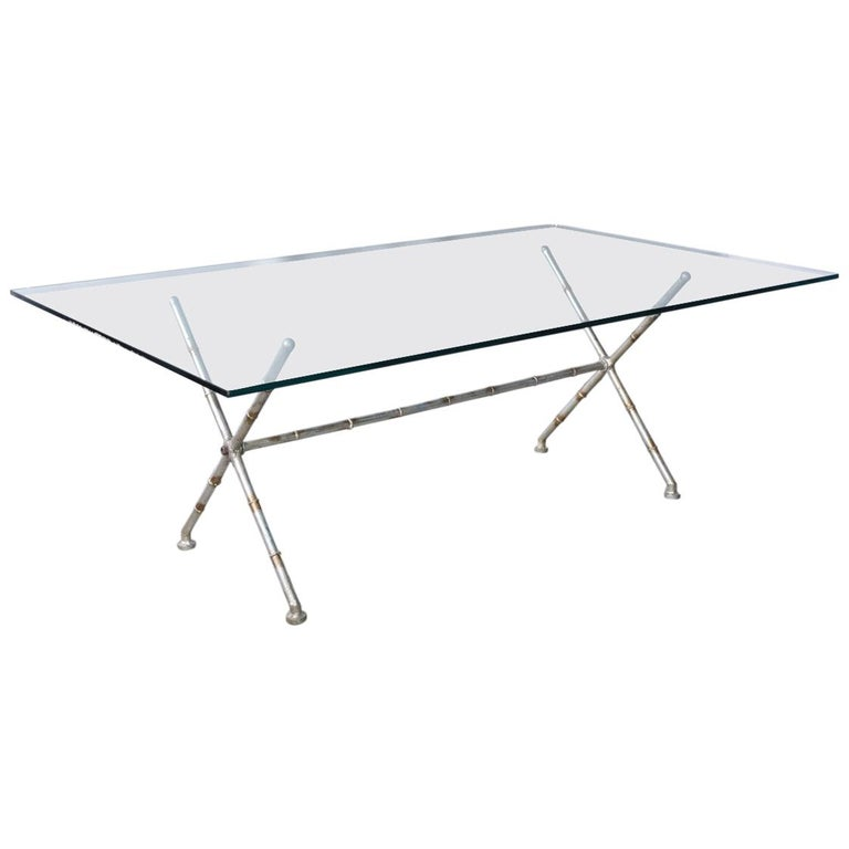 Contemporary Painted Metal Faux Bamboo and Glass Coffee Table For Sale