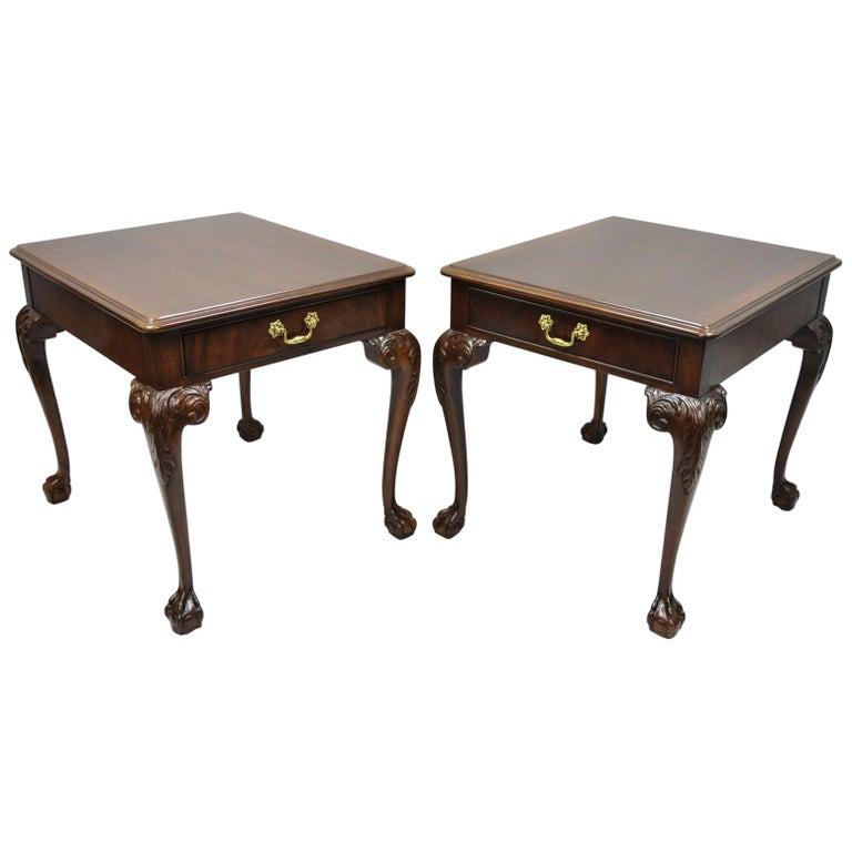 Drexel Heritage Chippendale Ball and Claw Mahogany Chairside End Tables Pair