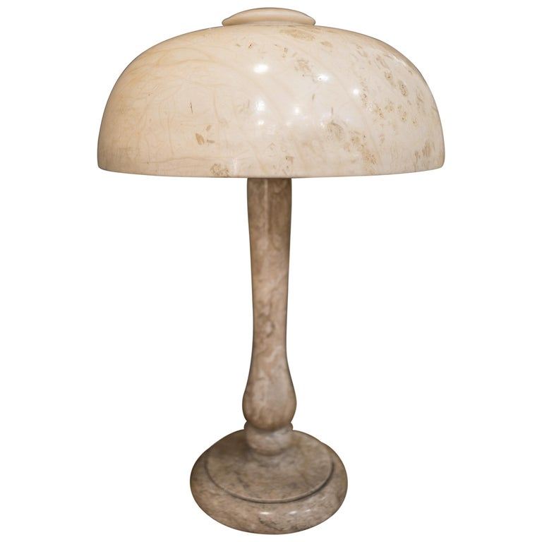Art Nouveau Alabaster Beige Mushroom Shaped French Table Lamp, circa 1900