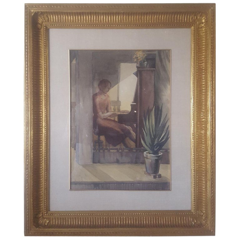 """20th Century Watercolor Painting """"Interior, Woman at Piano"""" 1937, W. J. Eckert For Sale"""