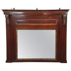 19th Century French Empire Mahogany Wall Mirror with Original Mercury Mirror