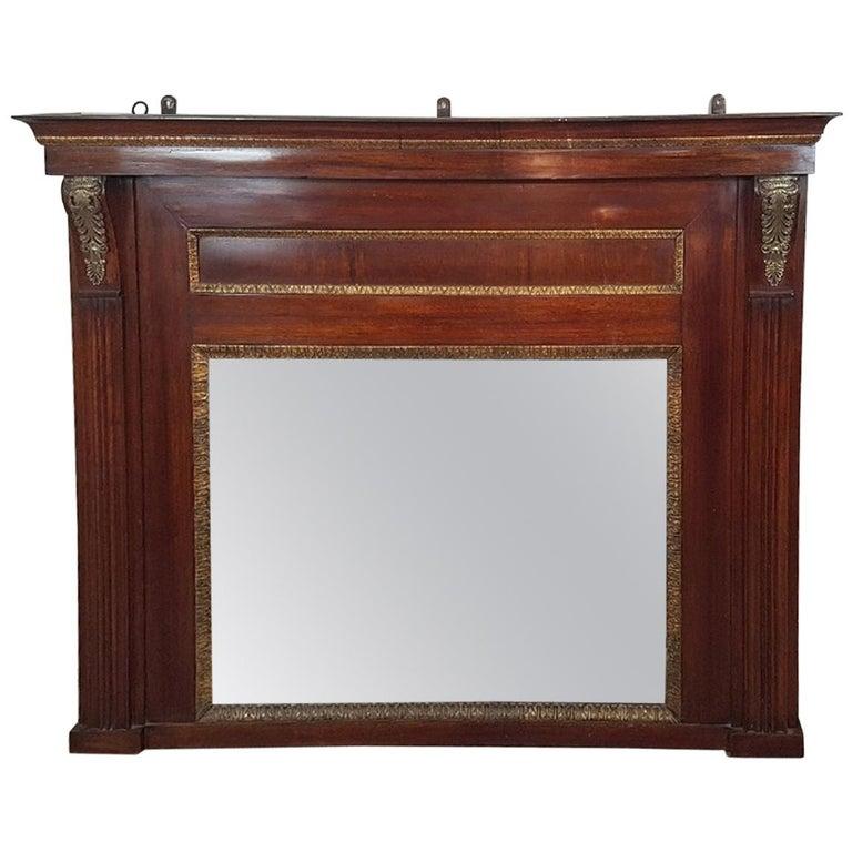 19th Century French Empire Mahogany Wall Mirror With Original
