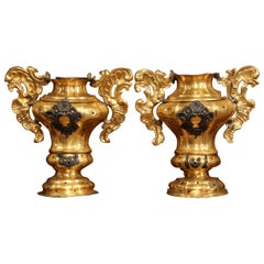 Pair of 18th Century Italian Carved Oak and Gilt Brass Altar Ornament Vessels