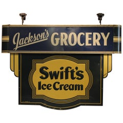 1930s Double Sided Swift's Ice Cream Sign