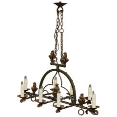 Late 19th Century French Gothic Wrought Iron Eight-Light Chandelier
