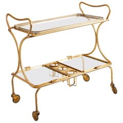 1960s French Maison Jansen Bar Cart with Wine Caddy