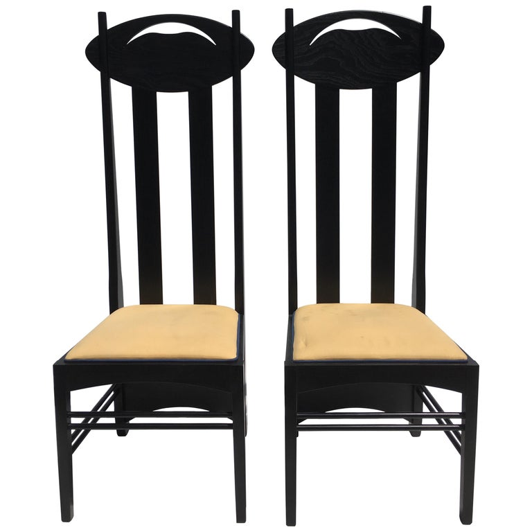 Two Charles Rennie Mackintosh Tall Back Chairs by Cassina