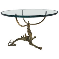 Decorative Brass Dragon Table with Glass Top