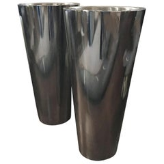 Pair of Contemporary Metal Chrome Cylinder Planter Flowers