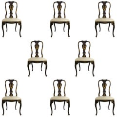 Set of Eight Chinoiserie Ebonized Wood Dining and Leather Seat Chairs