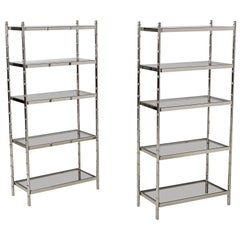 Petit Maison Bagues Style Faux Bamboo Smoked Glass Chrome Etagere, 2 Available