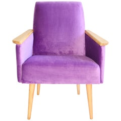 Polish Club Armchair in Purple Velvet from 1970s